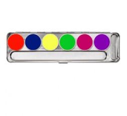 Kryolan Aquacolor UV Dayglow Schminkpalet 6 kleuren