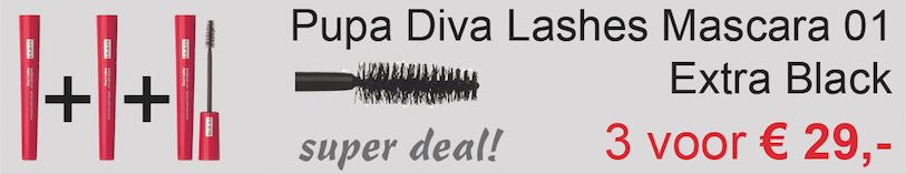 Drie stuks Pupa Diva's Lashes Mascara extra Black Aanbieding